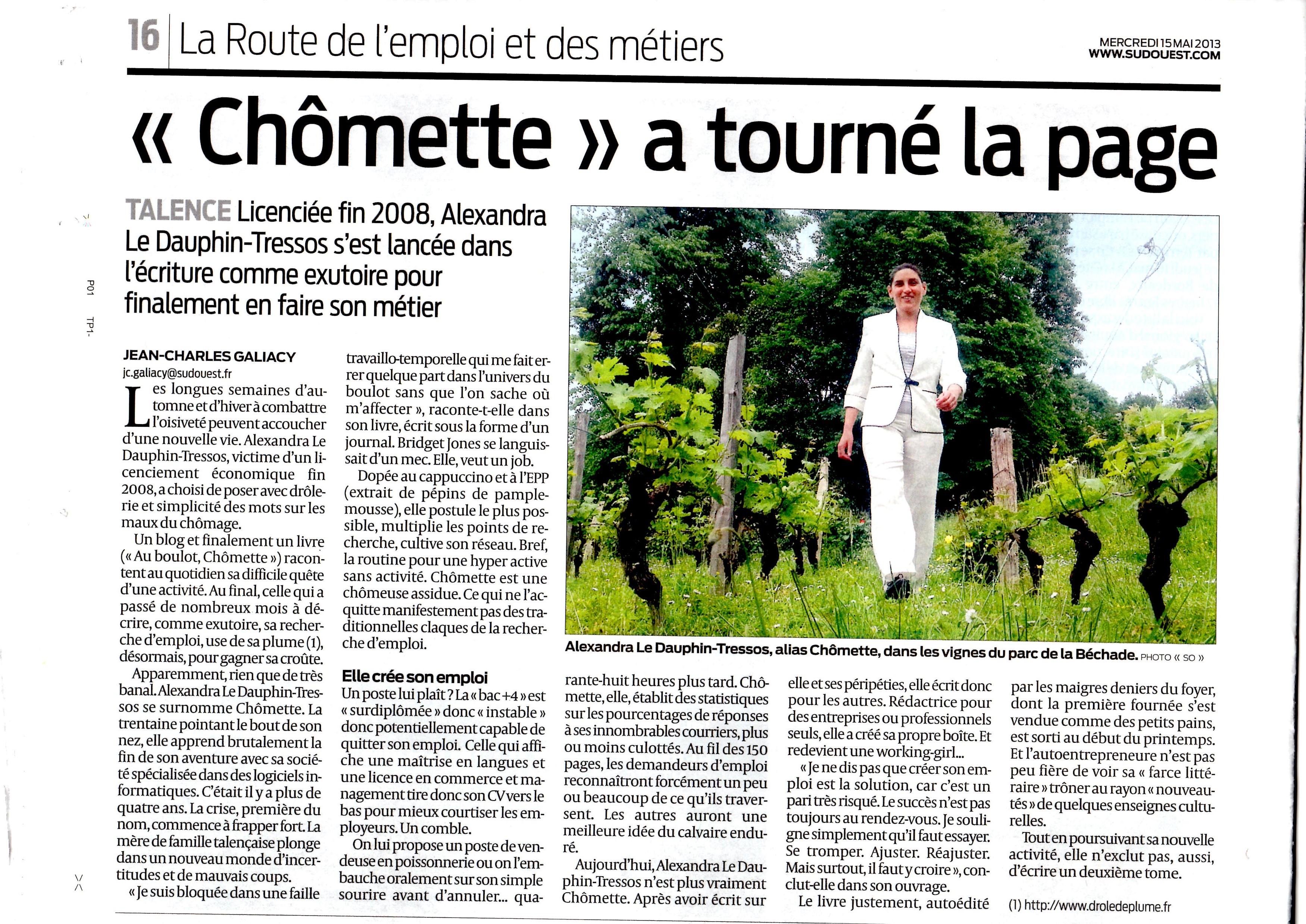 Votre écrivain sur Bordeaux dans le journal Sud-Ouest