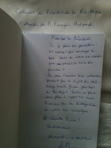 Dédicace à Monsieur Hollande